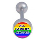 All Families Matter - Gay and Lesbian Pride Tongue Ring Barbell - Rainbow (Body Jewelry)