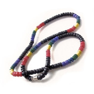 Dark Black & Rainbow Gay Pride Beads - Puka Shell Necklace - Gay & Lesbian LGBT Pride