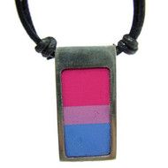 Bisexual / Bi Pride Vertical Flag Pendant -  Pewter Necklace
