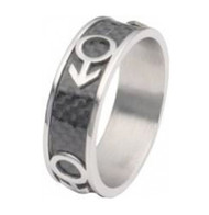 Mars Male Symbol Black Carbon Fiber Ring - Steel Gay Pride Ring