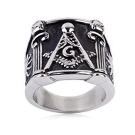 Mason Ring / Masonic Ring Pillar Design - Enamel & Steel Band for Freemasons