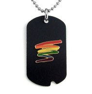 Black Gay Pride Dog Tag w/ Rainbow Squiggle - LGBT Gay and Lesbian Pride Necklace
