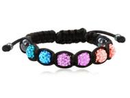 Beaded Bisexual Pride Adjustable Black Wristlet - Gay and Lesbian LGBT Pride Bracelet