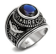 Air Force - USAF Military Ring (Stainless Steel with Blue Stone)