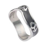 Mars Male Symbol Black Steel Wave Ring - Steel Gay Pride Ring
