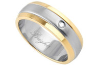 Stainless Steel Center w/ Gold Rims and CZ Stone - 316L Stainless Steel Wedding Band