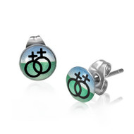 Double Female Stud Earrings (Black, Green & Blue) Lesbian Pride Earrings