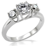 Past Present & Future CZ Ring - Steel Love & Commitment ring - Marriage Wedding Engagements