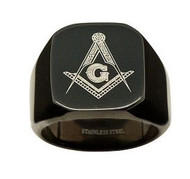 Black Freemason Ring / Masonic Rings - 316L Stainless Steel Band Free Mason Ring