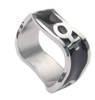 Venus Female Symbol Black Steel Wave Ring -  Steel Lesbian Ring