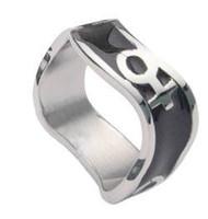 Venus Female Symbol Black Steel Wave Ring -  Steel Lesbian Ring