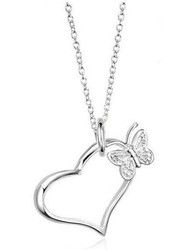 Open Heart and Butterfly Pendant Necklace (chain included) - Silver Color