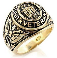 Veteran  - Military Ring (Gold Color) USA War Vet.