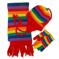 Gay Pride Winter Set (Rainbow, Hat Gloves & Scarf) - LGBT Gay and Lesbian Pride Apparel and Clothing