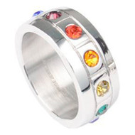 Rainbow CZ Blocks Ring - Gay & Lesbian Pride Stainless Steel Ring