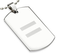 LGBT Equality Laser Etched Stainless Steel Dog Tag Pendant - Gay and Lesbian Pride Necklace