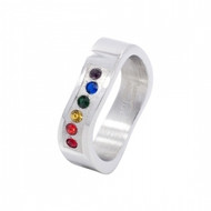 A Rainbow Wave Ring w/ CZ Stones - Steel Gay Rings / Lesbian Rings