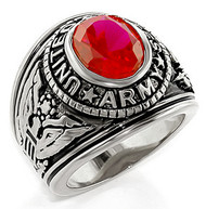 Army - U.S. Armed Forces Military Ring (Silver Color with Red Stone)