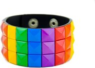 Rainbow Leather Studded - Gay Pride Bracelet - LGBT Lesbian Pride Wristband