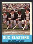 1963 Topps Baseball # 018  Buc Blasters Burgess, Stuart, Skinner and Clemente VG