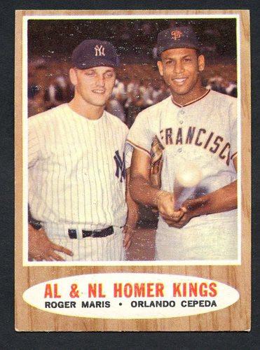1962 Topps Baseball 401 AL And NL Home Run Kings Maris Cepeda