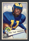 1952 Bowman Small Football # 025  Tank Younger Los Angeles Rams EX-1