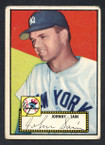 1952 Topps Baseball # 049b Johnny Sain Black Back New York Yankees VG