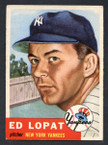 1953 Topps Baseball # 087  Ed Lopat New York Yankees EX