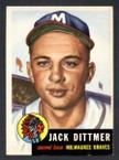 1953 Topps Baseball # 212  Jack Dittmer Milwaukee Braves EX