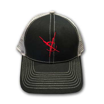 Crosswinds Brand Low Profile Trucker Mesh Cap - Grey Hat / Red Symbol