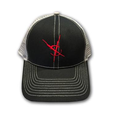Crosswinds Brand Low Profile Trucker Mesh Cap - Grey Hat / Red Symbol