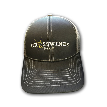 Crosswinds Brand Low Profile Trucker Mesh Cap - Grey Hat / Green Logo