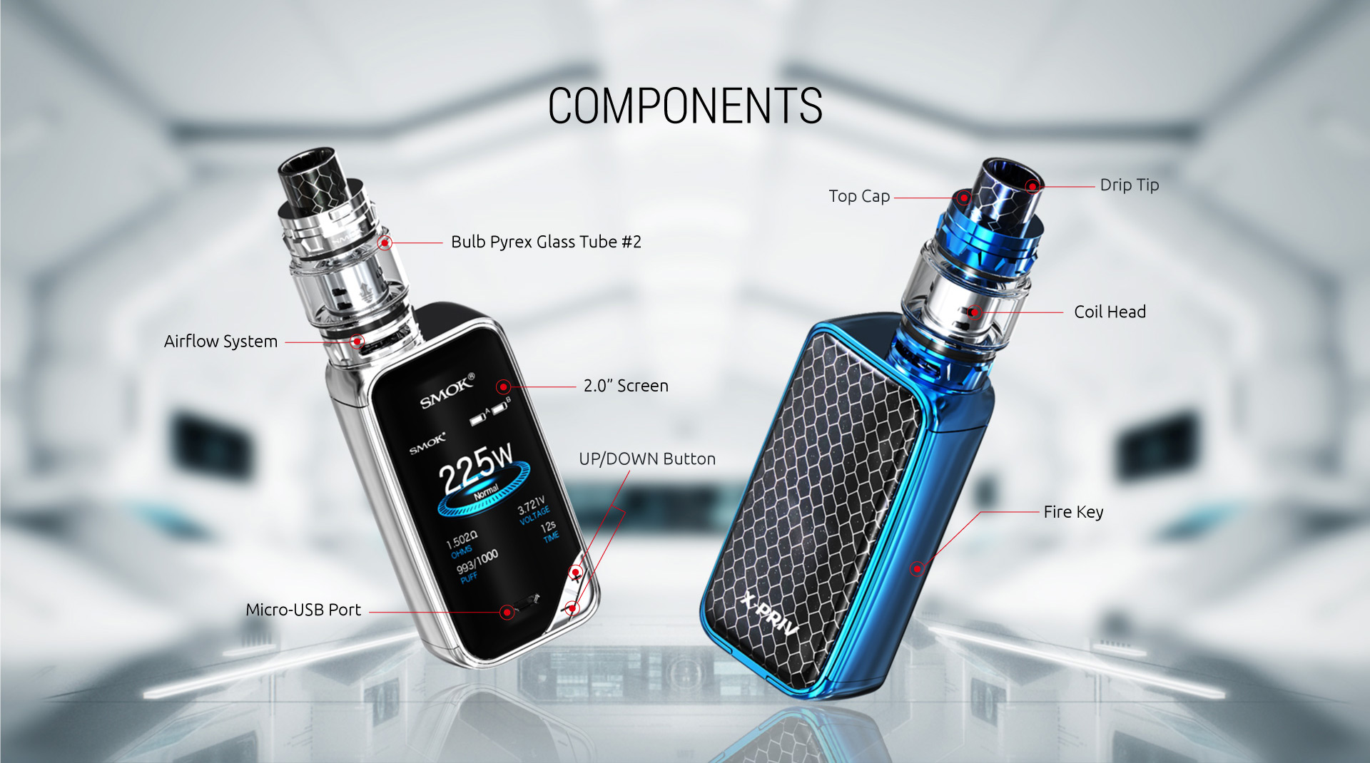 Smok X Priv 225W Kit components