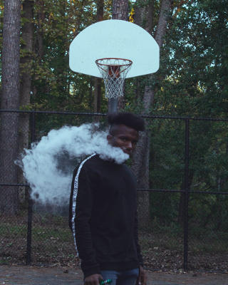 Vaping On A Basketball Court