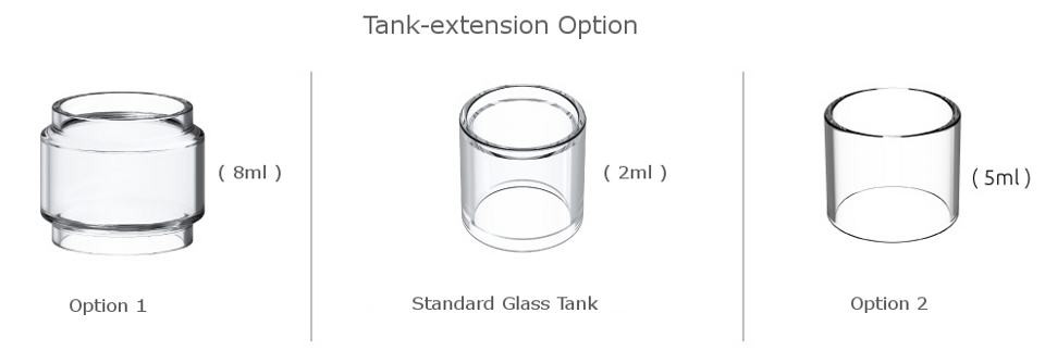 Smok big Tank  replacement convex glass and pyrex glass Bulb. 5ml and 8ml tank extension options