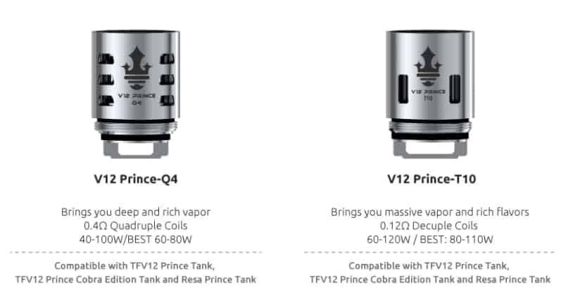 TFV12 Prince comparison: Prince T10 vs Prince Q4 Coils