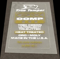 True Temper OX Comp  III Tubing Decal - White/Gold