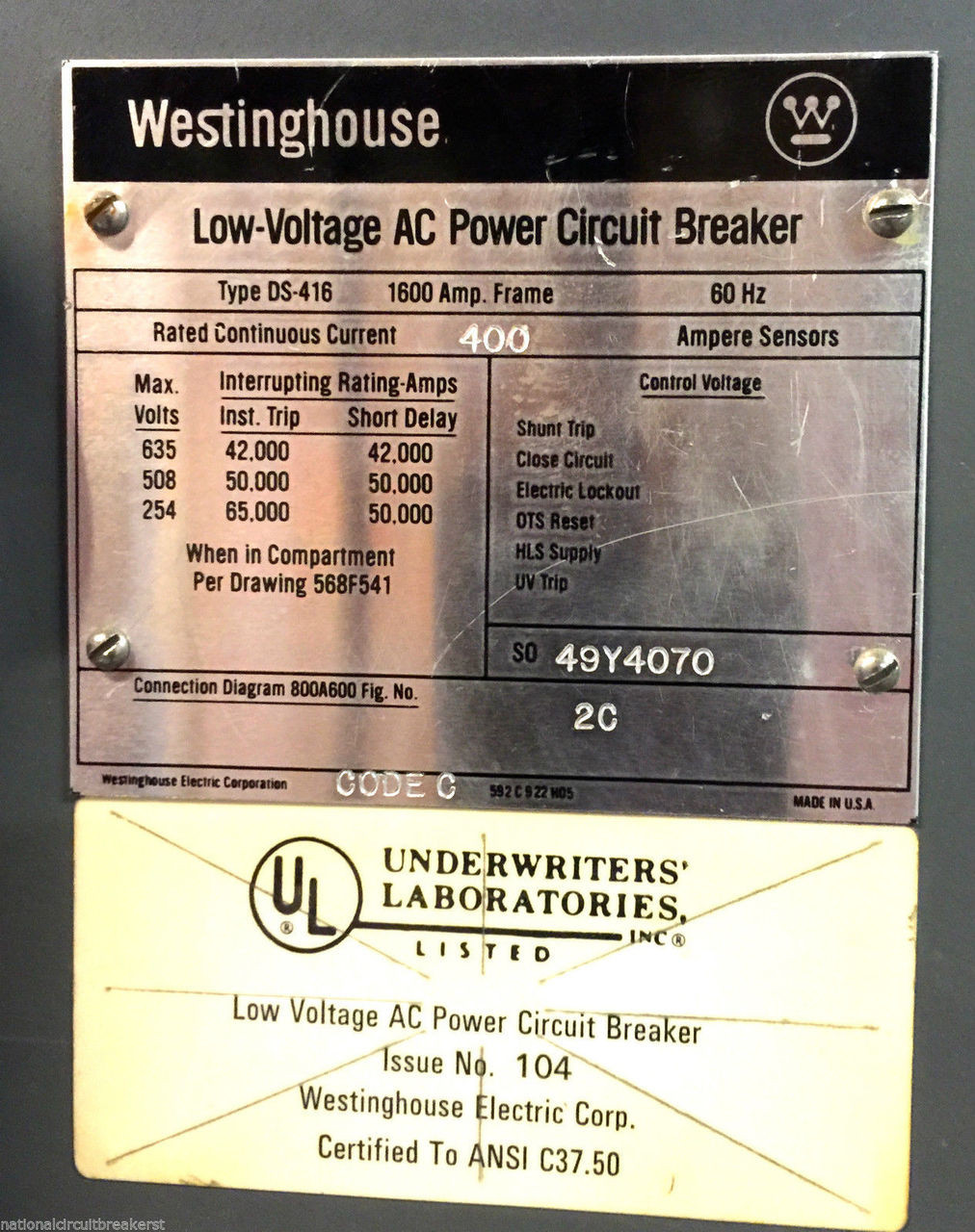 Westinghouse Low Voltage Ac Power Circuit Breaker Type Ds 416 Control For The S Price 600000 Image 1