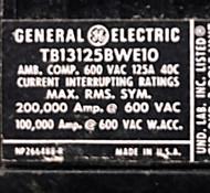 GE TB13125BWE10 125 Amp SKU 845