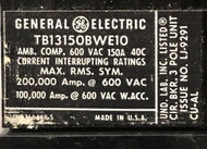 TB13150BWE10 GE Breaker, 150 Amp, 600V, Reconditioned, Sku 785