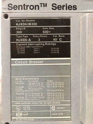 HKXD63B300 Siemens Breaker, 300 Amp, 600V, Reconditioned