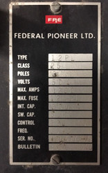 Federal Pioneer 12PL Switch, 1200 Amp, MO BOLT IN, 120 Volt
