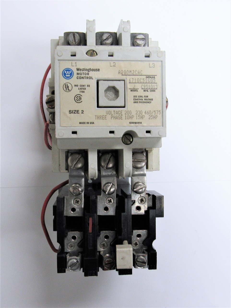 Westinghouse Motor Control A200M2CAC, 3P, Size 2 Model J with 120V on