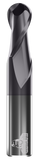 CARBIDE END MILL, BALL, 2 FLUTE, 1''DIA, 1-1/2''LOC, 4''OAL, TIALN COATED