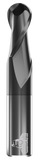 CARBIDE END MILL, BALL, 2 FLUTE, 1''DIA, 1-1/2''LOC, 4''OAL, TICN COATED