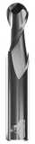 CARBIDE END MILL, BALL, 2 FLUTE, 3/8''DIA, 1-1/2''LOC, 6''OAL