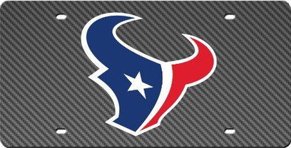 Houston Texans Inlaid Acrylic License Plate with Carbon Fiber Design