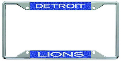 Detroit Lions Metal License Plate Frame with Glitter Design