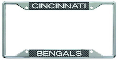 Cincinnati Bengals Metal License Plate Frame with Carbon Fiber Design