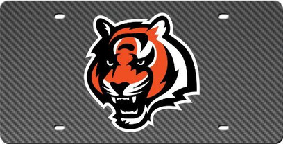 Cincinnati Bengals Inlaid Acrylic License Plate with Carbon Fiber Design